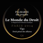 Vigo récompensé par le Monde du droit - Droit pénal des affaires - Or - 2014