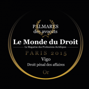 Vigo récompensé par le Monde du droit - Droit pénal des affaires - Or - 2015