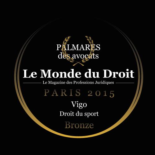 Vigo récompensé par le Monde du droit - Droit du sport - Bronze - 2015